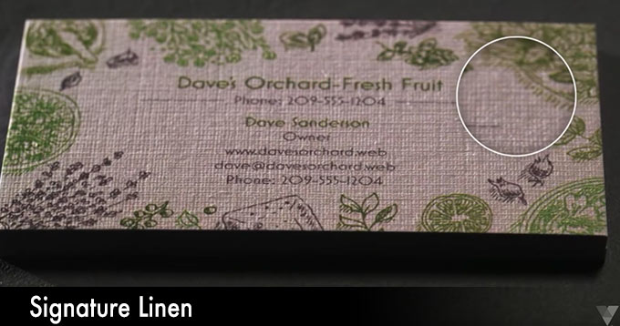 Vistaprint business cards paper stock: signature linen