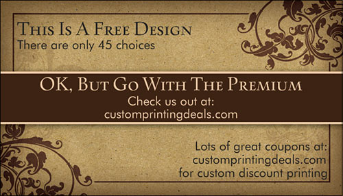 Sample free business card