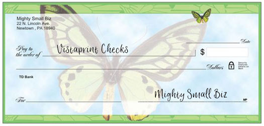 vistaprint checks design butterfly
