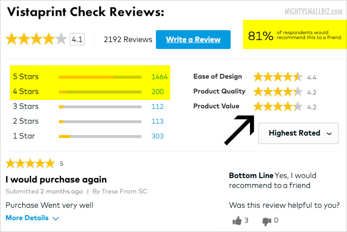 vistaprint checks reviews