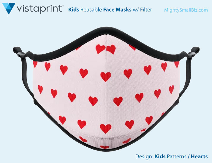 vistaprint facemasks kids hearts design