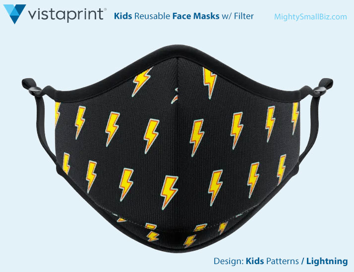vistaprint facemasks kids lightning