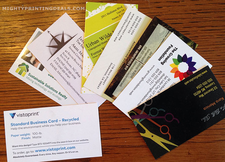 vistaprint free business card samples