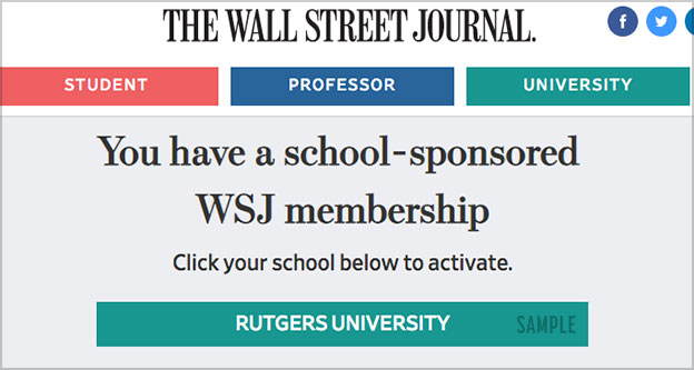 Wall Street Journal Student Discount Wsj Subscription