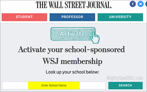 wsj free student subscription